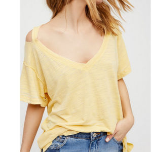 Free People Surfs Up Tee - Yellow - Size S - NWOT